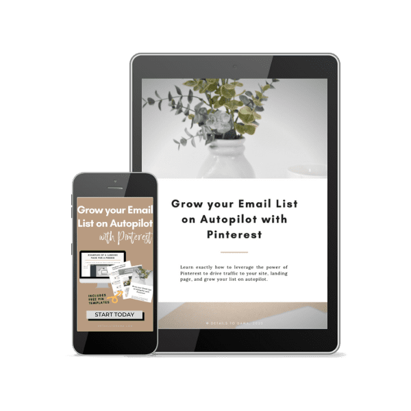 ipad and iphone showing Grow Your List with Pinterest training