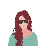 drawing of brunette woman with curly hair and aviator sunglasses